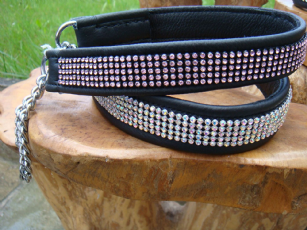 Hand-Made Leather Half-Check Dog Collar with Surface Mounted Crystals